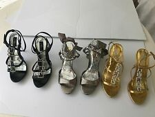 NEW Lot of 3 EVENING PARTY High Heels Get ALL 3 in GOLD BLACK & SILVER Size 7