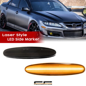 For 2003-2008 Mazda 6 LED Side Marker Light Front Turn Signal Lamp Smoked Lens