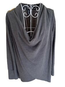 Izabel Women's Top Size S (10-12) Dark Grey Zip Detail Long Sleeved Cowl Neck
