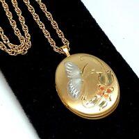 Vintage 14k Gold Filled Locket Etched Butterfly Flowers Necklace Signed