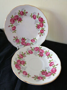 Vintage 1 Side Plate & 1 Saucer Royal Sutherland Fine Bone China Red Roses