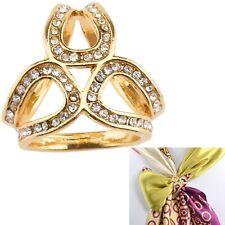 Elegant Clear Crystals Rhinestone Scarf Ring Silk Scarf Buckle Clip Jewelry Gift