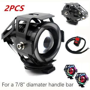 2PCS Multi Color Halo LED Motorcycle Headlight Spot Lamp Fog Light Projector Len