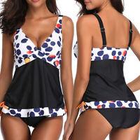 Plus Size Women Retro Swimsuit Deep V Neck Swimwear Tankini Swimdress+Briefs