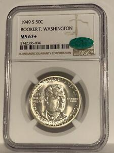 1949-S BTW Booker T Washington Half Dollar NGC CAC MS67+  Superb Eye Appeal
