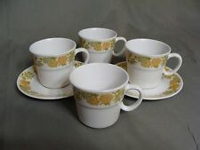 4 Noritake Progression China Cups & 2 Saucers In The Sunny Side #9003 Pattern