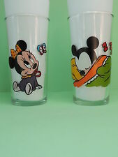 Lot 2 Verre Moutarde MAILLE Vintage 80's Mickey Minnie Bébé Baby Babies Disney