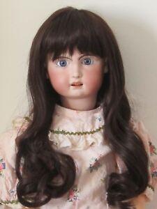 """perruque BRUNE Jumeau® T32/34cm-poupée ancienne-doll wig head sz13""""(32/34cm)"""