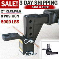 """Adjustable Ball Mount Trailer Drop Hitch Tow 2"""" Receiver Towing System for Car"""