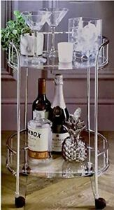 Silver Drink Trolley Glass Shelves Serving Bar Cart With Wheels Perfect for Home