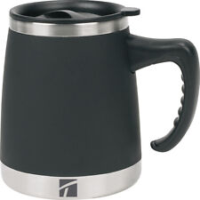 New Travel Desk Double Walled Coffee Mug Black & Stainless Steel BPA Safe 15oz
