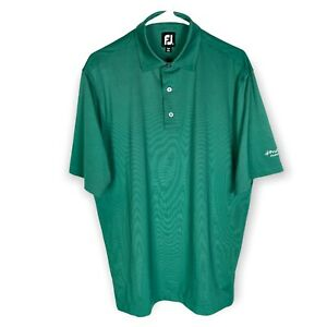 FootJoy Golf Polo Shirt Men's Medium Green Black Striped Stretch FJ Wicking