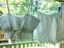 XS S Victorian Pajamas Set White Camisole Chemise Bloomer Sleepwear Cotton Lace