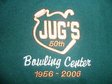 JUGS BOWLING CENTER POLO SHIRT Toledo Ohio Boobs Moonshine Embroidered Logo NWT