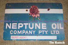NEPTUNE OIL agent TIN SIGN waratah New vintage old motor car Fuel Petrol Station