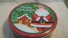 DECORATIVE METAL TIN, HAPPY HOLIDAYS SANTA CLAUS WITH HOUSE