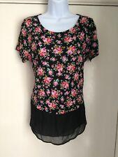 GEORGE size 12 black floral short sleeve lightweight top ladies summer spring