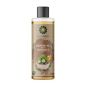 AYURVEDASHREE 100% Pure Cold-Pressed Castor Oil with Vitamin E 200 ML 6.76 fl oz