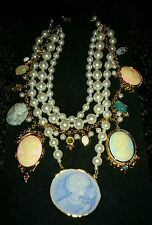 New Joan Boyce Cameo Encore Multistrand Simulated Pearl Gem & Cameo Necklace WOW