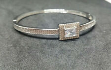 Brand New Luxury Solid Sterling Silver Bangle with White Topaz Stones