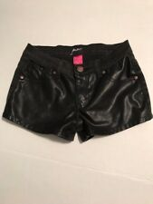 PINC PREMIUM FAUX LEATHER FRONT SHORTS black jean and vegan leather Size 14 EUC
