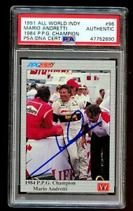 Mario Andretti #96 signed autograph auto 1991 All World Indy Card PSA Slabbed