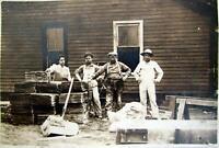 Original Antique 1890s Construction Workers Installing Plaster & Lath Photo RARE