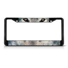 Wolf Animal Eyes METAL Black License Plate Frame Tag Holder