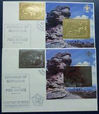Mongolei Mongolia 1993 Mineral Katze Schmetterling 2443-44 Block 210-211 FDC/3