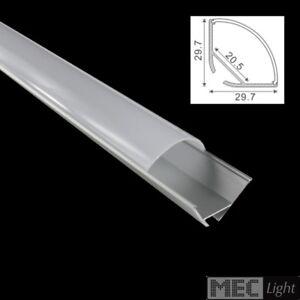 """1m ECK-Profil - ALU-Leiste """"ECKE-30"""" für LED Streifen - opale Abdeckung eloxiert"""