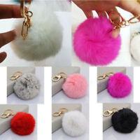 Fluffy Soft PomPom Ball Keychain Keyring Charm Rabbit Fur Handbag Car Pendants