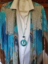New Chicos Aileen Pendant Necklace Turquoise/Silver Tone