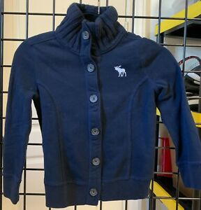 Abercrombie & Fitch Kids Navy Button Up Sweater Size L