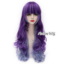 Lolita Purple Mixed Blue Long 75CM Curly Fashion Party Cosplay Wig with Bangs