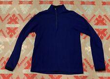 Mens Ibex 100% Merino Wool Two Tone Blue 1/4 Zip Pullover Sweater Sz L