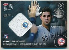 2016 Topps Now GARY SANCHEZ (8/24/16) RC Rookie 9 HRs in 21 Games Relic #15/49