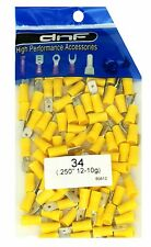 (100 PACK) 12-10 GAUGE YELLOW VINYL MALE QUICK DISCONNECT WIRE CONNECTORS .250""