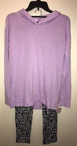 SO Juniors' 2-Piece Hooded Hoodie/Printed Legging Pajama Set PURPLE JEWEL M NWT