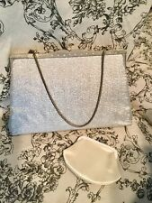 Vintage Magid Silver Purse Clutch with Rhinestones Snake Chain w pouch Vguc