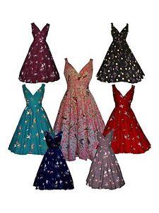 LADIES 1940's 1950's VINTAGE STYLE RETRO BIRD PRINT FLARED TEA DRESS NEW 8 - 28