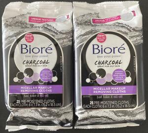 Lot of 2 Bioré Micellar Makeup Removing Cloths, Charcoal, 25 Cloths EACH, Sealed