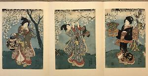 Utagawa KUNISADA 3 Original Woodblock Prints Cherry-blossom Party (Hana no en)