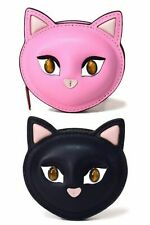 Kate Spade Meow Cat Leather Coin Zip Around Pouch Small Wallet w GBox