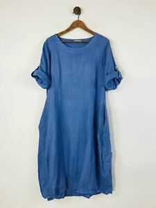 C.Valentyne Women's Linen Loose Fit Shift Dress   UK16   Blue
