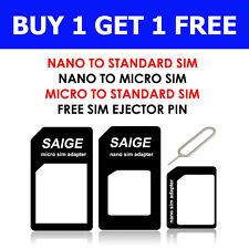 4 IN 1 PACK NANO TO MICRO & STANDARD SIM CARD ADAPTER FOR ALL MOBILE DEVICES x2