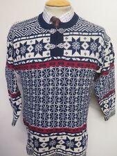 """Traditional Vintage Nordic Norwegian Pattern Clasp Neck Jumper Size S 36"""""""
