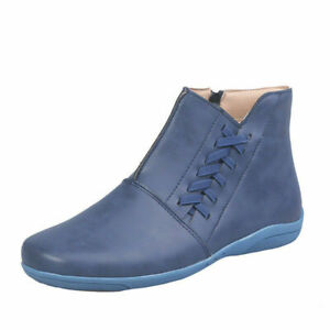 Autumn Winter Casual Braid Ankle Boots Round Toe Zip Plus Size Flat Womens Shoes