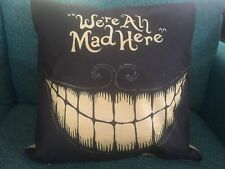 Alice in Wonderland we're All Mad Here Black Linen Square Pillow Cushion Cover.