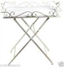 Shabby Antique White Ornate Metal Indoor Outdoor Folding Table Tray