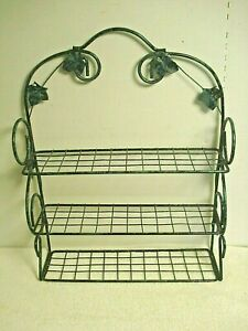 Vtg wrought iron wall hanging shelf rack 3 tier table top green ivy on black